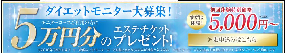 モニター大募集!モニターコースご利用の方 エステチケットプレゼント!